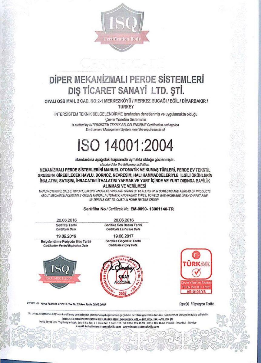 Diper Perde ISO 14001-2004 Sertifikası
