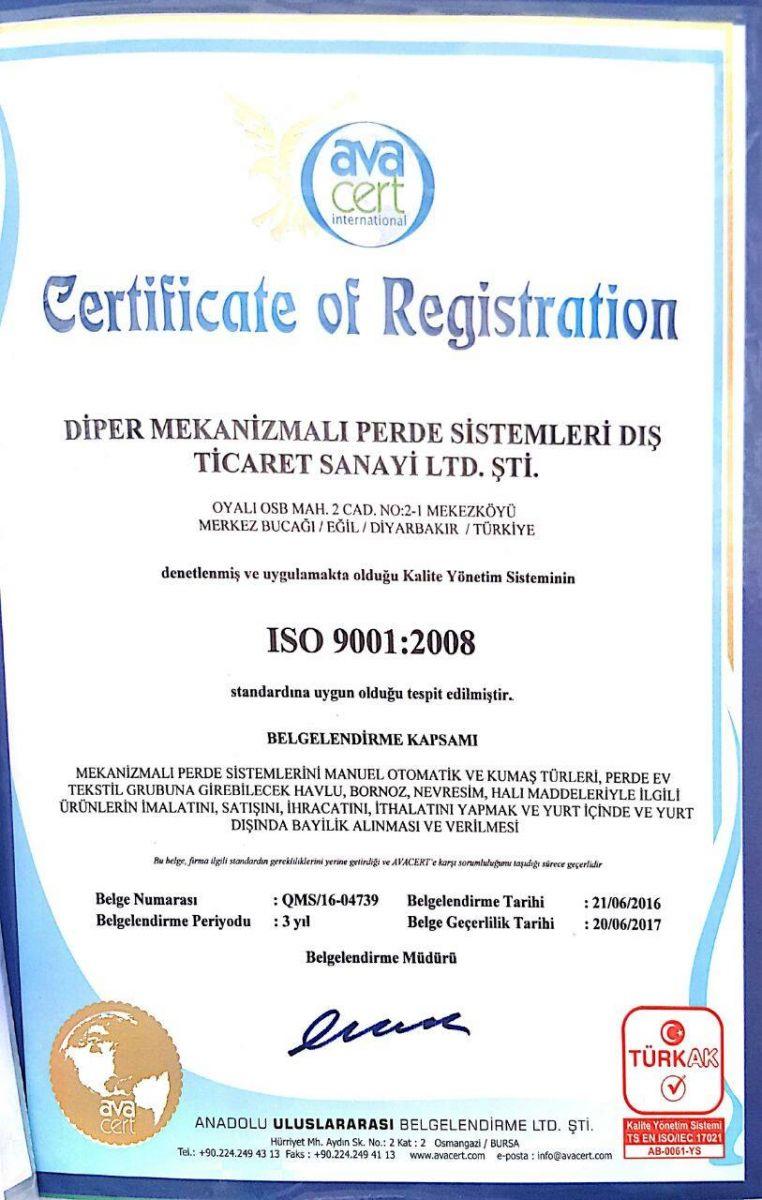 Diper Perde Iso 9001-2008 Sertifikası